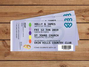 GAA Ticket Wedding Invitations