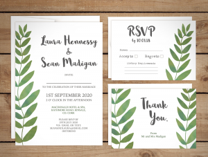 Modern Elegant Leaf Wreath Wedding Invitation