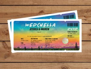 Festival Tickets Wedding Invitations