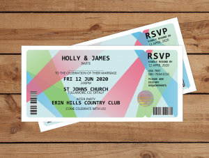 Spot Light Ticket Wedding Invitations