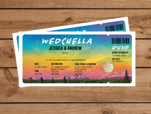 Festival Tickets Wedding Invitations