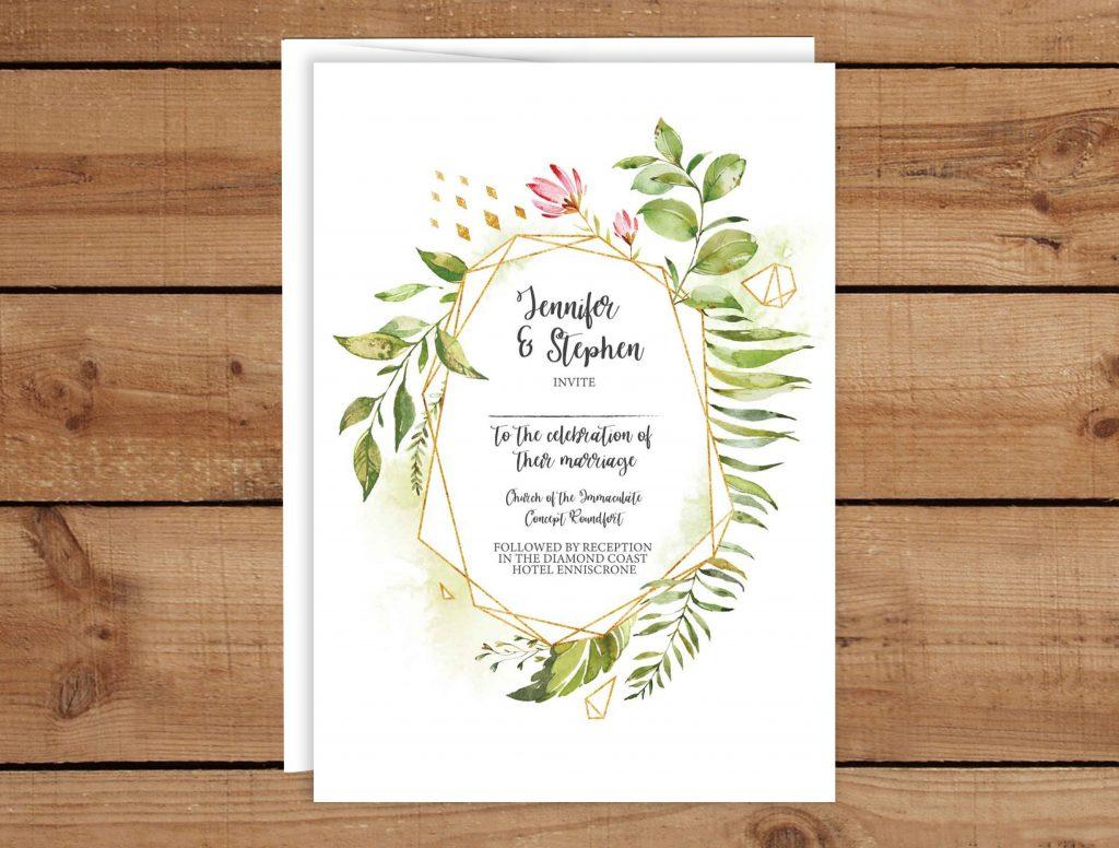 Boho Wreath Wedding Invitations