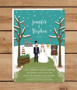 Christmas Illustration Wedding Invitations