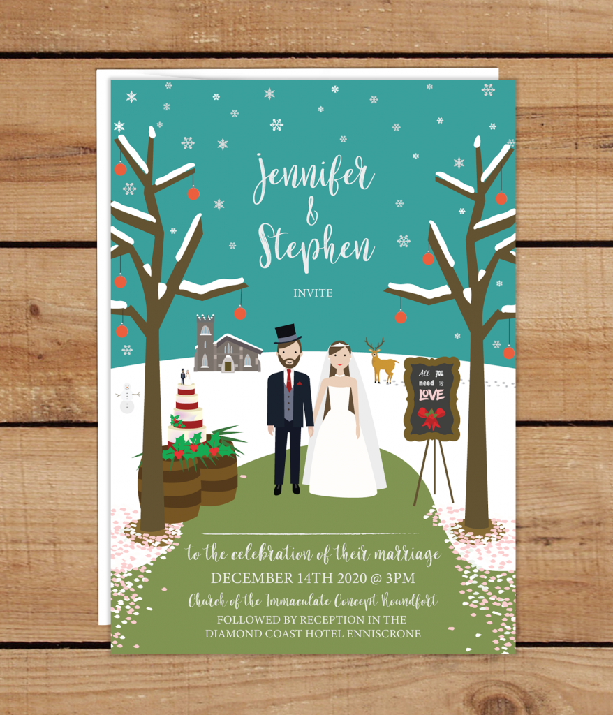 Christmas Illustration Wedding Invitations
