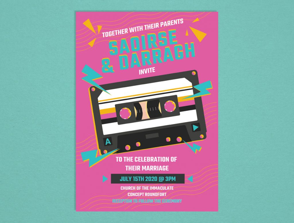 Retro Cassette Wedding Invitations