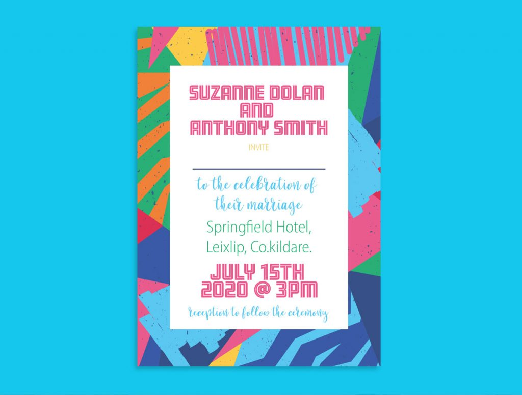 Music Festival Colour Wedding Invitations
