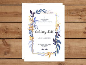 Purple and Gold Leaves Wedding Invitations
