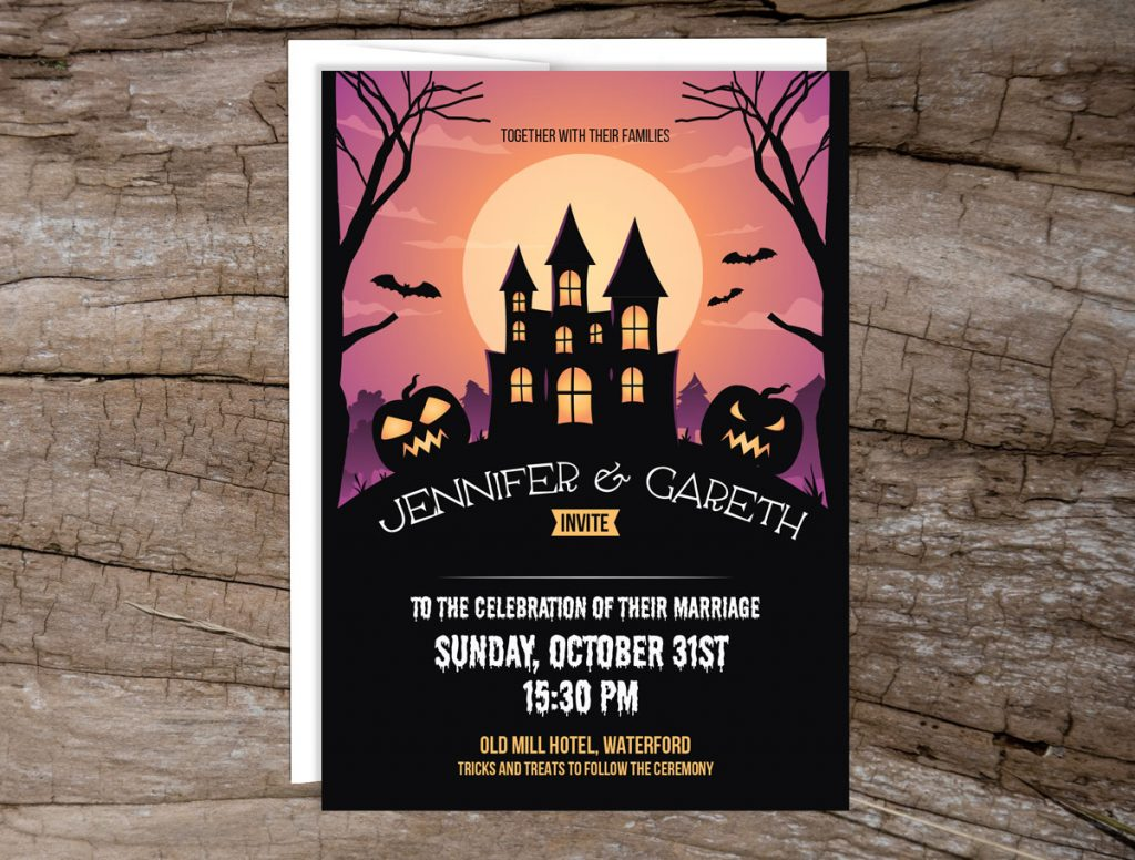 Haunted House Halloween Wedding Invitations