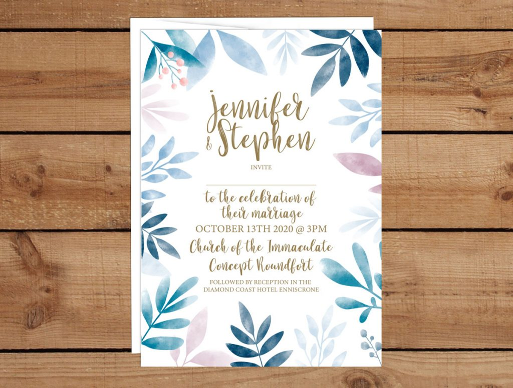 chic Leaf Wedding Invitations